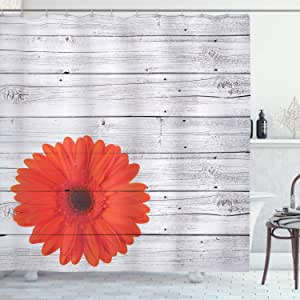 Ambesonne Vintage Home Decor Shower Curtain Set, Hot Red Daisy Flowers on Rustic Wood Wall Design Picture Garden Gerbera Plant, Bathroom Accessories Collection, Polyester Fabric,Light Grey Red