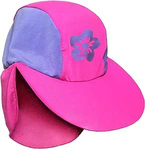 女孩尺码 Xs 粉色/紫色太阳紫外线防护沙滩游猎泳帽,适合 1-2 岁儿童