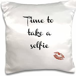 """BrooklynMeme 趣味谚语 - Time to take a selfie - 枕套 白色 16"""" x 16"""" pc_183677_1"""