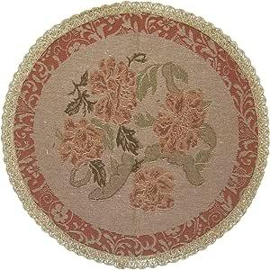 DaDa Bedding TC-10072 花卉编织圆形桌布,花卉图案 米色 18-Inch TC-10072