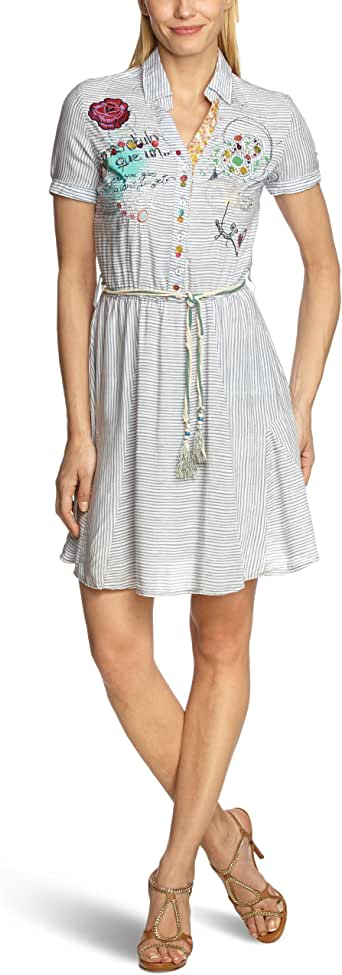 西班牙品牌:Desigual SEX, FUN & LOVE VEST_JULIETA 女式 简约风细条纹连衣裙 蓝色 40 32V28695133
