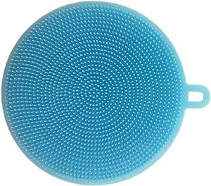 Billmill 洗碗刷硅胶圆形洗衣碗海绵擦洗毛巾厨房清洁*多功能工具,适用于洗碗、水果和蔬菜、耐热垫 蓝色 43188-195680