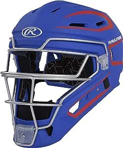 RAWLINGS Velo 系列 2.0 双色棒球捕手头盔,哑光皇家蓝和鲜红色