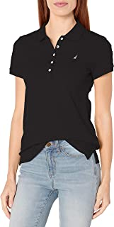 Nautica 女士 5 粒扣短袖透气纯棉 Polo 衫 正黑色 X-Large