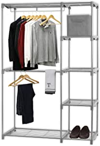 Simple Houseware 双杆独立式衣柜 银色 BO-018-1