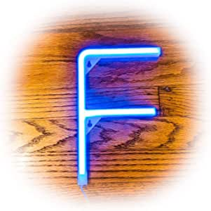 ZOLED 蓝色霓虹 LED 字母标牌,发光字母,马灯字母,电池和 USB 供电,生日派对装饰,周年纪念,婚礼 字母 F
