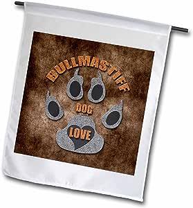 3dRose fl_22047_1 Bullmastiff 狗狗爱狗品种灰色和棕色花园旗,30.48 x 45.72 cm