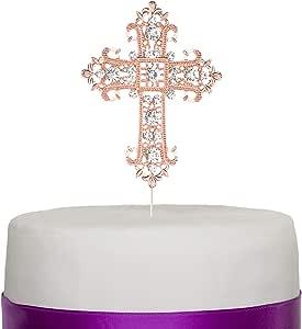 交叉蛋糕装饰 - 宗教、婚礼、洗礼、圣诞节、专业、Boda 纪念品装饰 粉红色 unknown