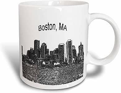 3dRose mug_21731_5 波士顿市镇天际线马克杯,多色,311.84 克