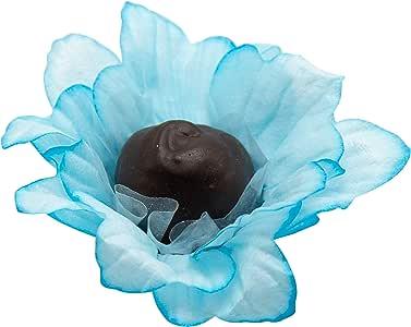 Wedding Chocolates Wrapper - 奢华婚礼 - 手工面料松露肩杯,松露肩衬垫 - 20 件装 - Truffilio Chrysanthemum Blue