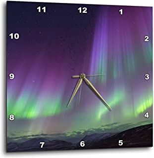 "3dRose Danita Delimont - 北灯 - 欧洲、冰岛、阿库里。 北方灯为紫色和绿色。 - 挂钟 NA 15x15"" dpp_277485_3"