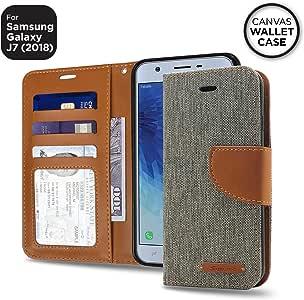 [SQUARE Folio Series] Samsung Galaxy J7 (2018) 优质帆布钱包式保护套MQCW-J718-GRY 灰色