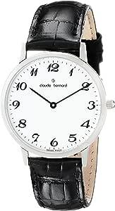 Claude Bernard 男式 20061 3 BB 经典款时尚 - 细线模拟显示瑞士石英黑色手表