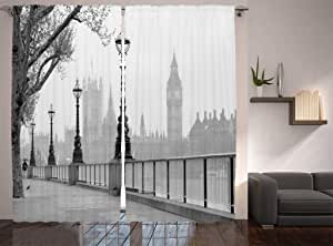 Ambesonne London Decor Collection, View of Big Ben from the Walking Way by the Thames River with Street Lights under Rain Picture, Living Room Bedroom Curtain 2 Panels Set, 108 X 90 Inches, Dark Grey