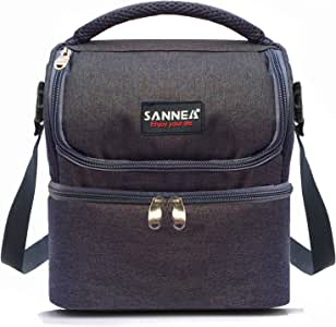 Kinnet 绝缘双层冰箱午餐袋带可拆卸肩带,男女皆宜 黑色 BAG0101