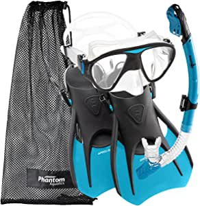Phantom Aquatics Speed Sport Signature Mask Fin Snorkel Set, Aqua, Small/Size 4-7