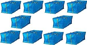 IKEA 大号蓝色 Frakta 行李箱 适用于手推车洗衣袋 蓝色 Set of 10 FBA_blue bag