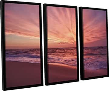 ArtWall Dan Wilson's Outer Banks Sunset III 3 件浮动加框油画艺术品 36x54 0wil020c3654f