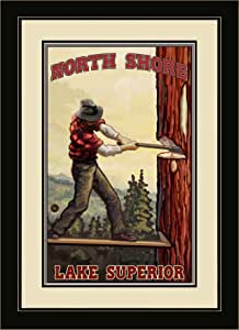 Northwest Art Mall PAL-1827 FGDM TC North Shore Lake Superior Tree Chopper Framed Wall Art by Artist Paul A. Lanquist, 16 by 22-Inch