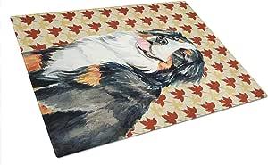 Caroline's Treasures Bernese Mountain Dog Fall Leaves Portrait Glass Cutting Board, Large, Multicolor