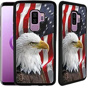 Galaxy S9 Plus 橡胶 TPU 手机壳 Black - Bald Eagle American Flag