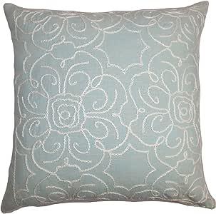 "The Pillow Collection Pam 花朵欧式枕套水蓝色 蓝色 Standard/20"" x 26"" STD-D-32395-TABRIZ-AQUA-L55C10"