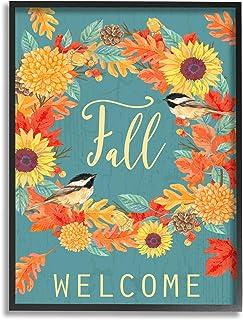 Stupell Industries 秋季欢迎秋季收获花环鸟,Andrea Tachiera 设计黑色框架墙艺术,24 x 30,蓝色