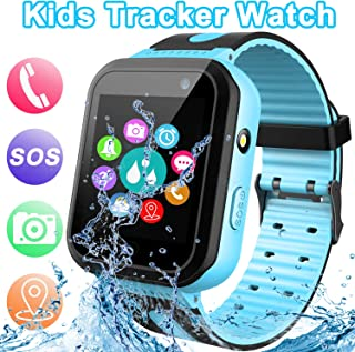 【SOS 手机和遥控器 APP】 GPS 追踪儿童智能手表,带 SOS 呼叫活动追踪闹钟手电筒游戏智能手表玩具,适合 4-12 岁女孩,假日生日礼物 蓝色
