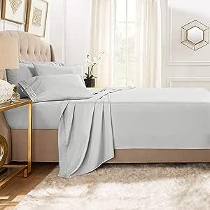 Clara Clark Premier 1800 系列 5 件套床单套装,带额外枕套 银色 Flex-Top King CC-6pc-Sheets-FTK-silver