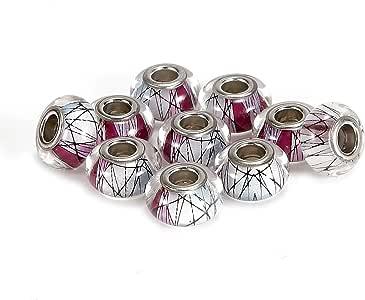 BRCbeads 10 件银色电镀环氧搪瓷+人造钻石穆拉诺灯光饰欧洲玻璃水晶魅力珠垫圈适合潘多拉手查尔米拉卡洛Biagi Zable 蛇链魅力手链 Pink Color Epoxy Enamel 9x14mm