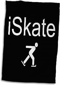 3drose xander 的运动标语–iskate ,白色字母在黑色背景与 PICTURE OF 溜冰–毛巾