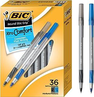 BIC Round Stic Grip 超舒适圆珠笔,中号笔尖(1.2mm),黑色和蓝色,36支