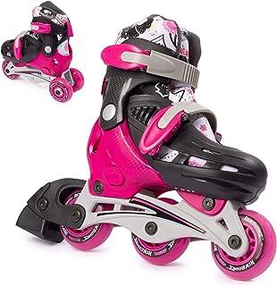 高级滚筒 Skate NEW Bounce 4wheel inline rollerblades 适用于 kids| 户外滑冰适用于初学者 & Advanced | 粉色或蓝色