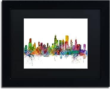 Trademark Fine Art MT0545-B1114BMF 芝加哥伊利诺斯天际线作者 Michael Tompsett 11x14 MT0545-B1114BMF