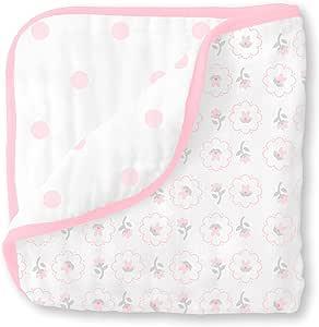 SwaddleDesigns 4 件套 平纹细布包巾,小星星、小羊、粉红色 浅粉色