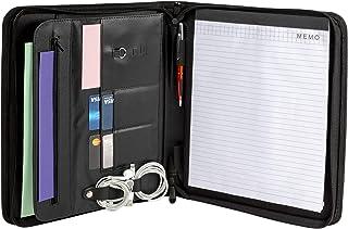 2 个拉链活页夹带记事本的夹具包 – 拉链包袋,拉链式软头文件夹 – 节省时间和*性——专业商务会议文件文件夹、面试和旅行办公室收纳包
