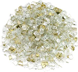 American Fireglass 10-Pound Reflective Fire Glass with Fireplace Glass and Fire Pit Glass 金色 1/2 Inch x 20 Pounds