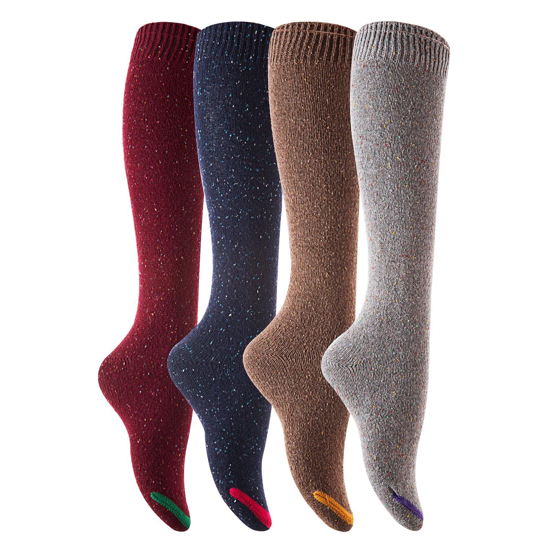 Lian LifeStyle 女式 4 双及膝高棉靴袜 尺码 6-9