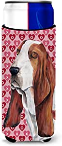 Basset Hound Hearts Love and Valentine's Day Portrait Michelob Ultra Koozies for slim cans SC9267MUK 多色 Slim