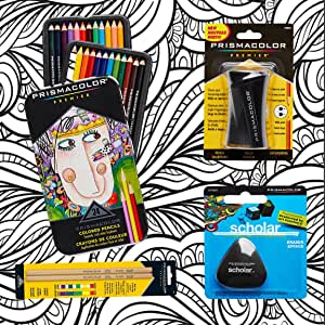Prismacolor 彩色铅笔、三角形Scholar 铅笔橡皮擦、高级铅笔磨刀、无色搅拌铅笔和 CSS 成人彩色书 24包 wefstv