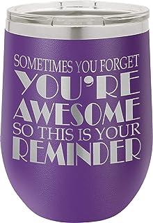 SDF 杯 12 盎司(约 354.9 毫升)带盖和吸管的酒杯 - 绝缘酒杯带有趣味标语 - 不锈钢无柄酒杯 - 送给女士妈妈奶奶男士爸爸妻子 BFF 的礼物 紫色