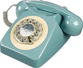 Wild Wood Rotary Design Retro Landline Phone for Home, French Blue
