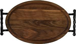 "BigWood 板 W410-STWB-NI 带扭球手柄的椭圆形切割板,30.48 厘米 x 45.72 厘米 x 2.54 厘米,交织字母""空白"",胡桃色"