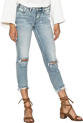Silver Jeans Co. 女式 Aiko 修身中腰修身牛仔裤 Light Destroyed Wash 27x25