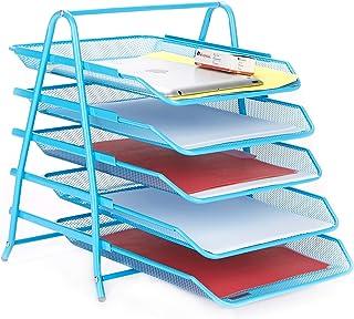 Mind Reader 书桌收纳盒带 3 个可放置信件、文件 5 Tier Blue 5TPAPER-BLU