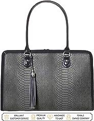 BFB 女士笔记本电脑包 - 17 英寸电脑公文包肩邮差工作手提包 - 黑色 灰色 L 18