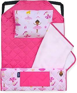 Wildkin 多功能一体式现代午睡垫,带枕头,适合幼儿和学龄前儿童,采用弹性角带棉混纺材料,橄榄色儿童(巴勒利纳犬)