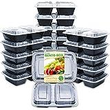 Enther 餐具盒父 20 Pack 2 Compartment 32盎司 2CPTX20