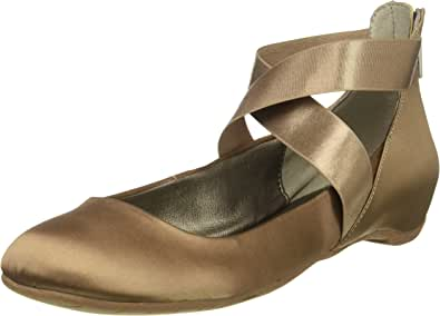 Kenneth Cole REACTION 女式 Pro-time 芭蕾平底鞋,带弹性脚踝绑带,后拉链缎面 貂皮色 5.5 M US