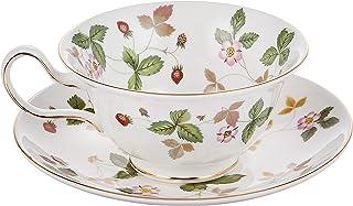 Wedgwood 野草莓茶杯和茶碟 牡丹图案 【平行进口商品】